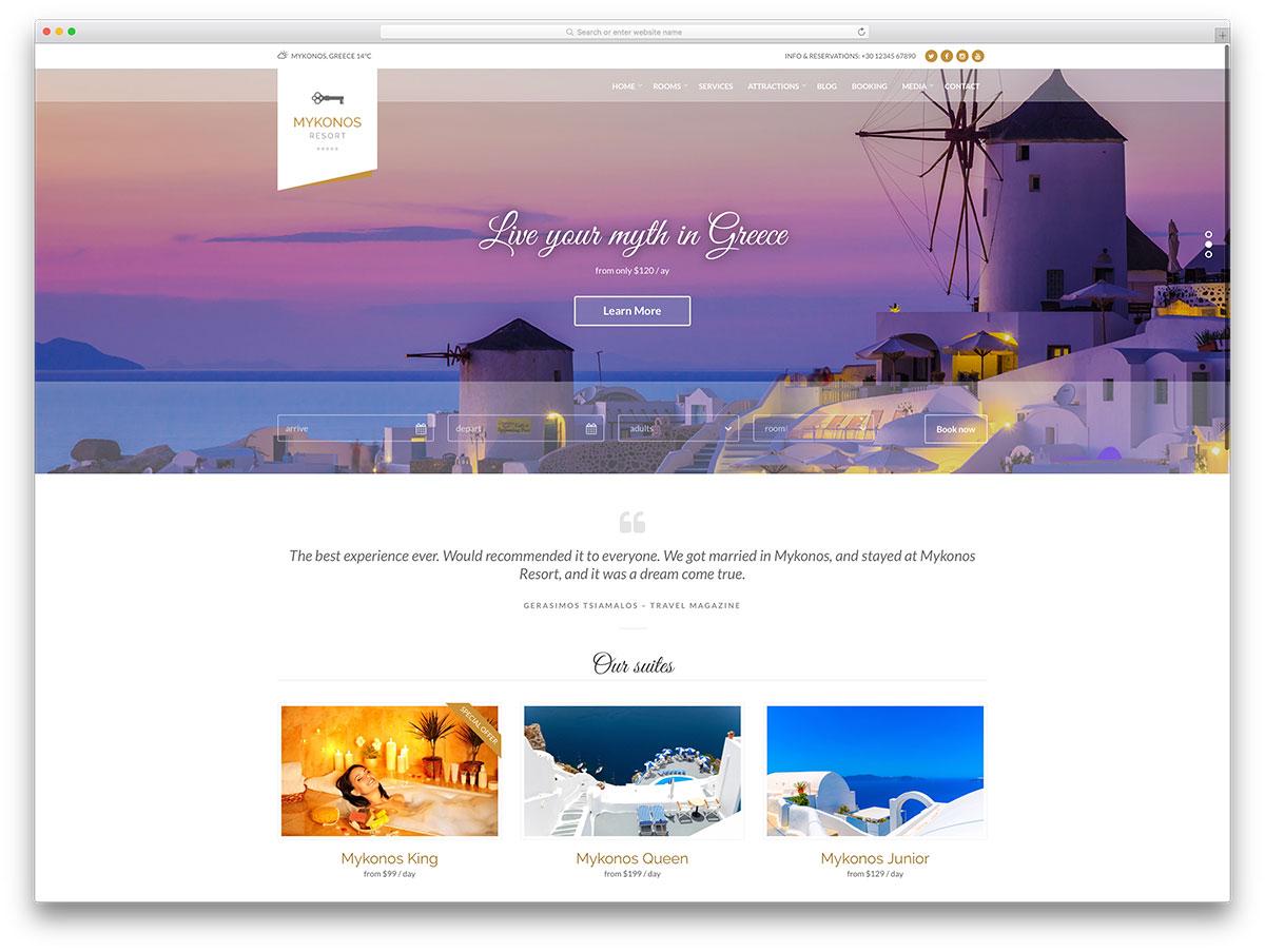 Mykonos Hotel Ιστοσελίδα